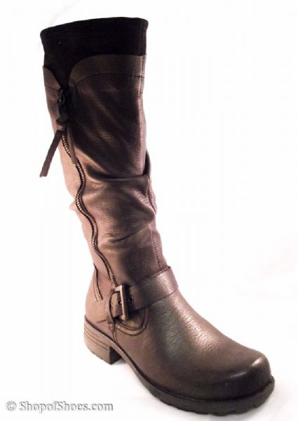 Earth Spirit long Brown leather twin zipped boot
